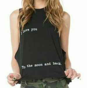 Brandy Melville I Love You...Gray Muscle Tee